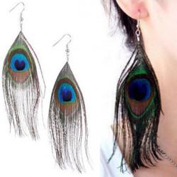 Handmade Peacock Feather Dangle Hook Chandelier Earrings