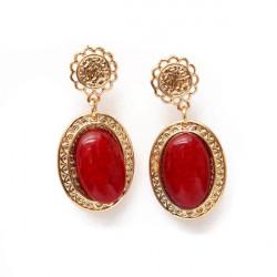 Hollow Flower Water Drop Oval Gem Dangle Earrings For Women