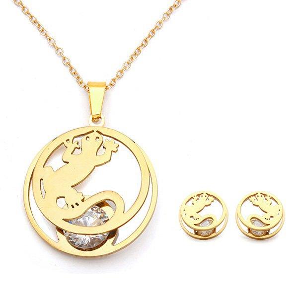 Hollow Gecko Crystal Pendant Earrings Jewelry Set Gold Silver Plated Women Jewelry