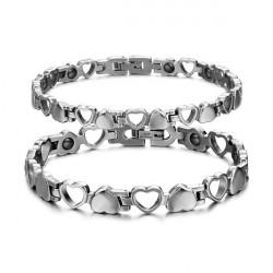 Hollow Heart Titanium Steel Hematite Magnetic Stone Couple Bracelet