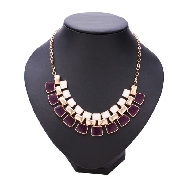 Hollow Out Enamel Geometric Golden Chain Pendant Statement Necklace Women Jewelry