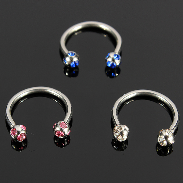 Horseshoe Crystal Circular Piercing Lip Bar Nose Ring Stainless Steel