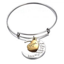 I Love You To The Moon And Back Family Member Bracelet Bangle