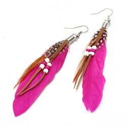 Indian Leather Hen Feather Dangle Bead Ear Drop Earrings Party
