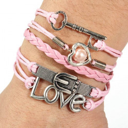 Infinity Heart Pearl Love Key Leather Charm Multilayer Bracelet