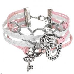 Infinity Love Key Heart Multilayer Braided Leather Bracelet