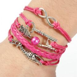 Infinity Owl Deer Love Key Multilayer Leather Rope Charm Bracelet