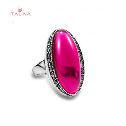 Italina 18K Platinum Plated Rhinestone Oval Shape Gem Finger Ring