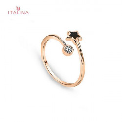Italina 18K Rose Gold Plated Crystal Star Wrap Opening Ring Jewelry