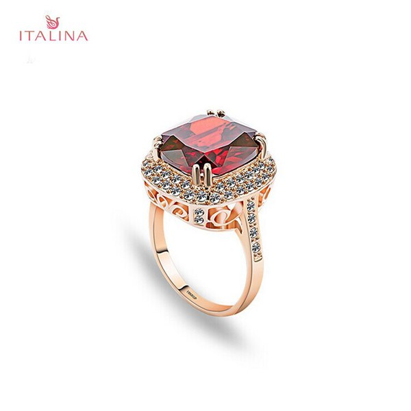 Italina 18K Rose Gold Plated Crystal Zircon Geometric Finger Ring Fine Jewelry