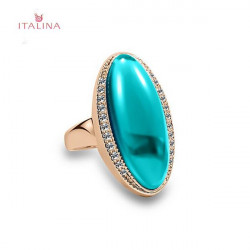 Italina 18K Rose Gold Plated Rhinestone Oval Shape Gem Finger Ring
