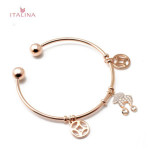 Italina 18K Rose Gold Plated Sheep Coins Charm Open Bangle Bracelet Fine Jewelry