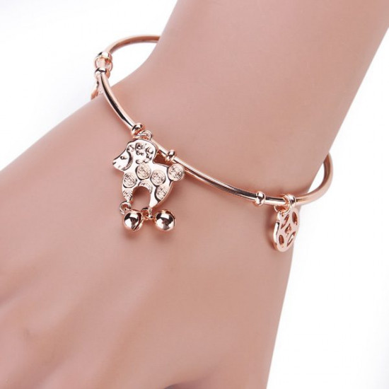 Italina 18K Rose Gold Plated Sheep Coins Charm Open Bangle Bracelet 2021