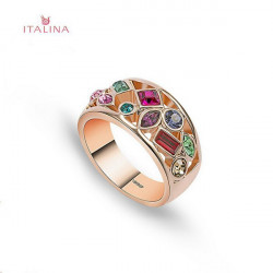 Italina 18K Rose Gold Round Cut Hollow Zircon Finger Ring For Women