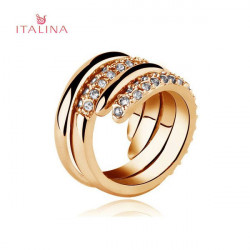 Italina 2pcs Austrian Crystal Rhinestone Finger Ring Rose Gold