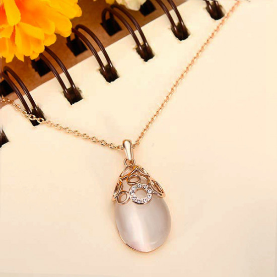 Italina Austiran Crystal Water Drop Opal Pendant Necklace 2021