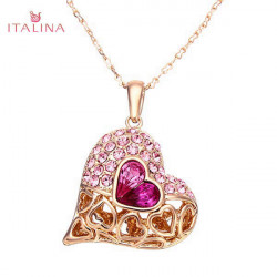 Italina Austrian Crystal Heart Pendant Necklace 18K Rose Gold Plated