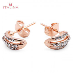 Italina Austrian Crystal Moon Stud Earrings 18K Rose Gold Plated