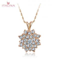 Italina Austrian Crystal Sunflower Pendant Necklace 18K Rose Gold