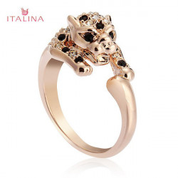 Italina Crystal Leopard Ring 18K Rose Gold Silver Plated Finger Ring