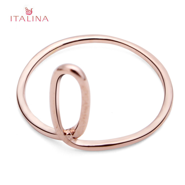 Italina Gold Silver Oval Shape Knuckle Pinky Finger Ring For Women Women Jewelry