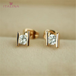 Italina Golden Silver Plated Crystal Zircon Stud Earrings Jewelry