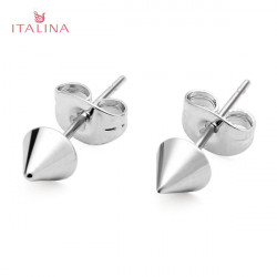 Italina Punk Gold Silver Metal Rivet Stud Earrings Women Jewelry
