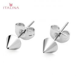 Italina Punk Gold Silver Metal Rivet Stud Earrings Women Jewelry