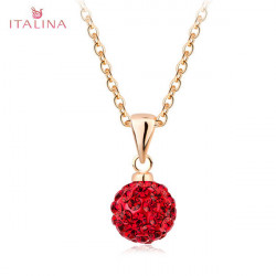 Italina Red Austrian Crystal Ball Pendant Necklace 18K Rose Gold