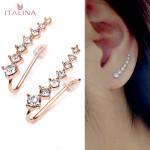 Italina Rhinestone Crystal Ear Cuff Earrings 18K Rose Gold Plated Women Jewelry