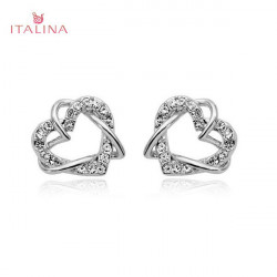 Italina Rhinestone Heart Shaped Stud Earrings Rose Gold Silver Plated