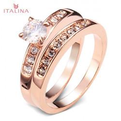 Italina Separable Austrian Crystal Zircon Wedding Ring 18K Rose Gold