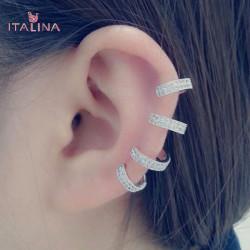 Italina U Shape Crystal Zircon Ear Cuff 18K Platinum Plated
