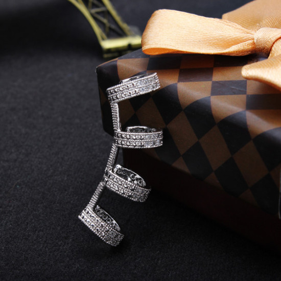 Italina U Shape Crystal Zircon Ear Cuff 18K Platinum Plated 2021