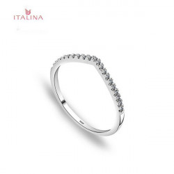 Italina V Heart Shaped Rhinestone Lover Wedding Ring Jewelry