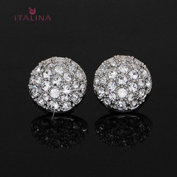Italina Women Gold Silver Plated Rhinestone Clip Earrings Jewelry