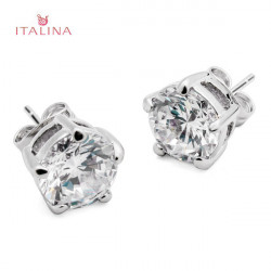 Italina Zircon Crystal Stud Earrings For Women 18K Platinum Plated