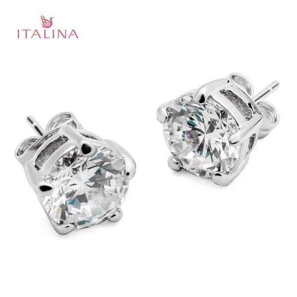 Italina Zircon Crystal Stud Earrings For Women 18K Platinum Plated Women Jewelry