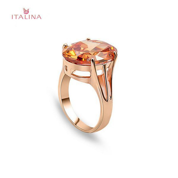 Italina Zircon Stone Geometric Finger Ring 18K Rose Gold Plated Women Jewelry