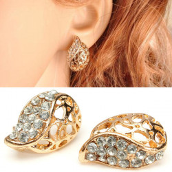 Leaf Gold Plated Hollow Crystal Rhinestone Ear Stud Earrings For Women
