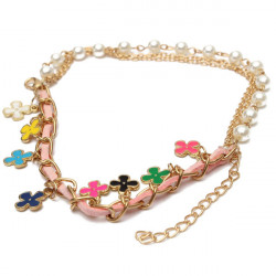 Leather Rope Four Leaf Clover Pearl Alloy Bracelet For Women