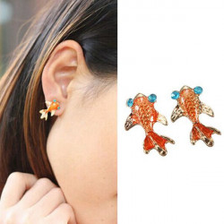 Lovely Blue Crystal Eye Gold Fish Ear Stud Earrings Women Jewelry