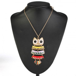 Lovely Colorful Owl Pendant Chain Necklace Women Jewelry