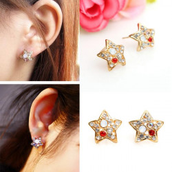Lovely Colorful Rhinestone Crystal Star Stud Earrings For Women