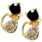 Lovely Full Rhinestone Black Gold Cat Stud Earrings For Women Women Jewelry