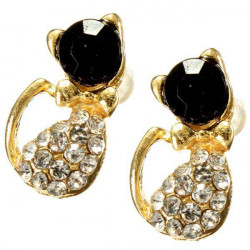 Lovely Full Rhinestone Black Gold Cat Stud Earrings For Women