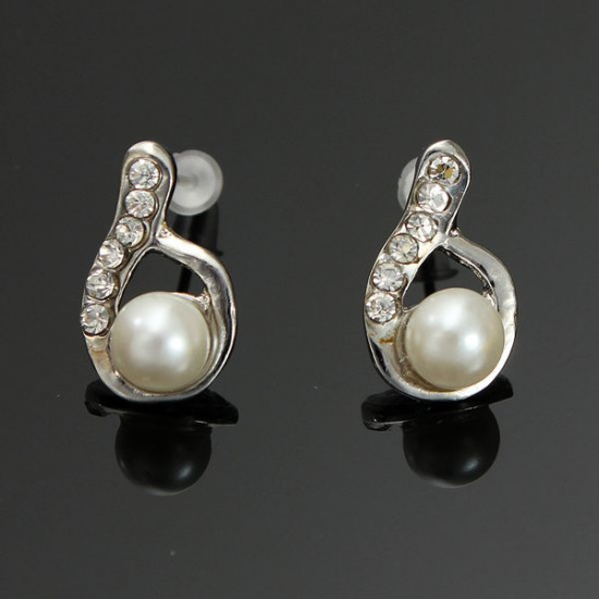 Lovely Full Rhinestone Pearl Water Drop Stud Earrings For Women 2021