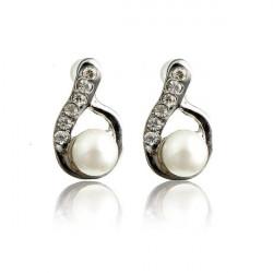 Lovely Full Rhinestone Pearl Water Drop Stud Earrings For Women