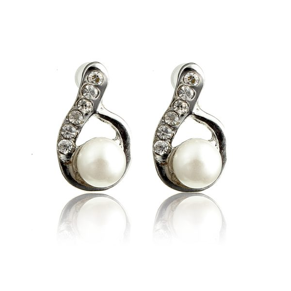 Lovely Full Rhinestone Pearl Water Drop Stud Earrings For Women Women Jewelry