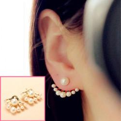 Lovely Gold Plated Pearl Ear Stud Earrings For Women